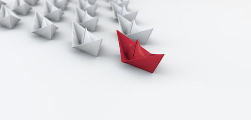 Papierboote - Konzept Erfolg, Leitfaden oder Innovation Wall mural