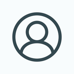 User account icon, user in circle vector icon