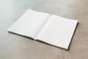 White open magazine mockup on concrete 3D rendering