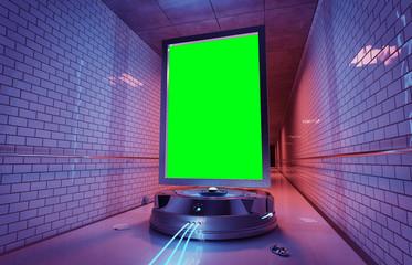 Futuristic vertical billboard in underground tube station mockup 3d rendering