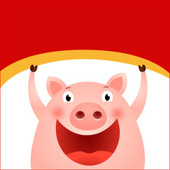Cheerful pig and empty space on red background. Christmas greeting card. For leaflets, brochures, invitations, posters or banners.