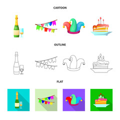 Vector illustration of party and birthday sign. Set of party and celebration stock vector illustration.