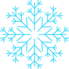 Snowflake, Icy Blue, Line Art