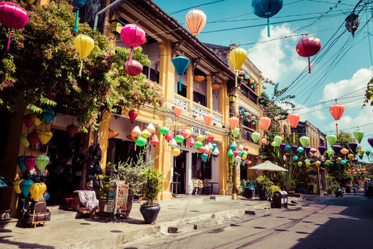Hoian Ancient town houses. Colourful buildings with festive silk lanterns. UNESCO heritage site. Vietnam.
