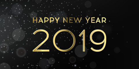 Happy new year 2019 beautiful gold banner with stars and bokeh. Holiday premium background, eps10