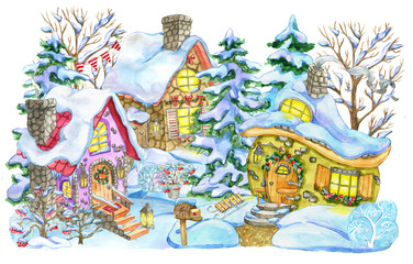 Christmas and new year greeting card with cottage houses and fir trees isolated on white. Hand painted winter watercolor illustration, holiday background for greeting card, scrapbooking decoration
