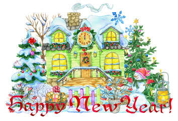 New year greeting card with beautiful cottage house, snowman and winter fir trees isolated on white. Hand painted winter watercolor illustration, holiday background for greeting card, scrapbooking dec