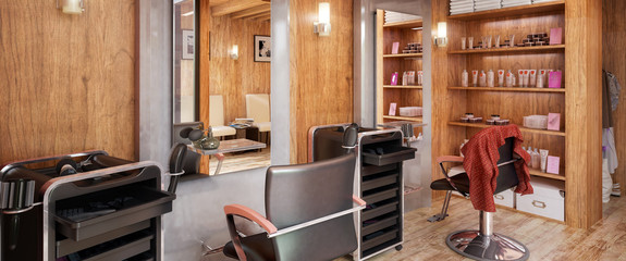 Barbershop Design - panoramic view, 3d visualization