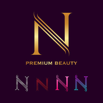 Premium letter N Monogram Luxury logo with line curve, Beauty Industry and fashion, Cosmetics business, natural, spa salons, yoga, medicine and clinics for your Corporate identity