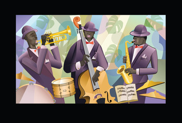 Etiqueta Engomada - Jazz band on a colorful background