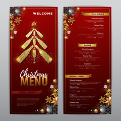 Christmas menu design with golden champagne bottles. Restaurant menu. Pyramid of champagne bottles