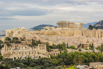 Canvas Prints Athens Acropolis and Athens cityscape heritage ruins place reconstruction view in cloudy rainy weather time