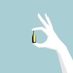 Hand holding wine bottle, hand is white.