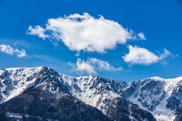 snow covered mountain tops