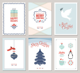 Merry Christmas and Happy Holidays cards set with New Year tree, gift box, dove,  ornaments and  decorative snowflakes.