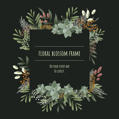 The square floral frame for invitation cards and graphics.