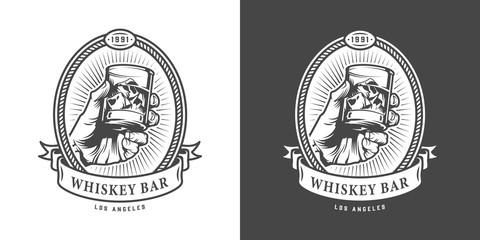 Vintage whiskey bar monochrome emblem Fototapete