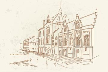 Wall Mural - Vector sketch of old Brewery building in Bruges, Belgium.