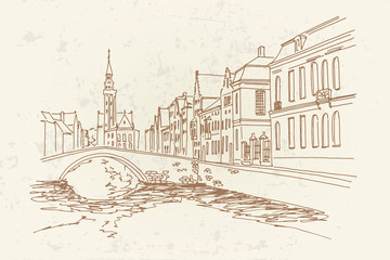 Wall Mural - Buildings along a channel in Spiegelrei street, Bruges, Belgium.