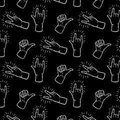 Peace sign, rock n roll hands gestures - black and white seamless pattern