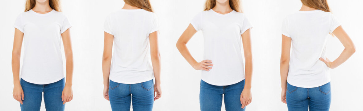 women t-shirt isolated on white background, back and front views girls in white tshirt