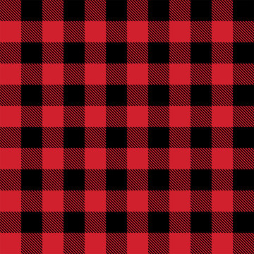 Red and black lumberjack buffalo plaid seamless vector pattern for graphic design and backgrounds