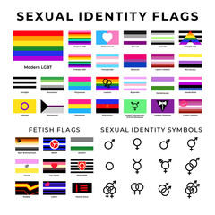 Sexual identity flags and symbols. LGBT and Straight communities flags. Sex fetish signs,