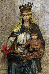 Virgin Mary with baby Jesus, statue in the church of St. Mark in Zagreb, Croatia
