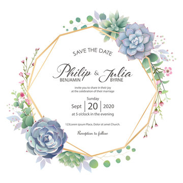 Beautiful greenery wedding invitation card on white background. Vector.Succulent, Wax flower, silver dollar plant.