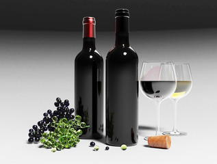 Bottles of red wine and wineglass, grape isolated on the grey background. Mockup. 3d illustration.