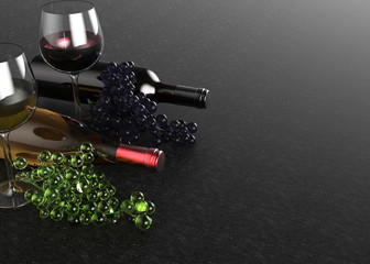 Bottles and glasses of red and white wine, grape on black background. 3d illustration.