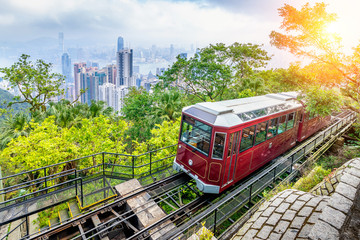View of Victoria Peak Tram in Hong Kong. Fotomurales
