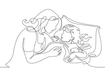 One continuous drawn single art line doodle sketch character mother