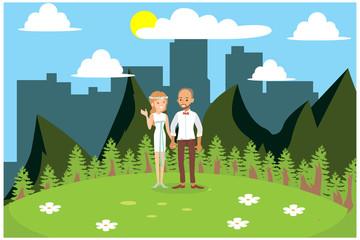 flat illustration wedding celebration in the garden, vector illustration