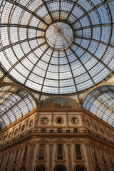 ITALY, MILAN - November 2018: glass couple ceiling Interior view of Vittorio Emanuele II.