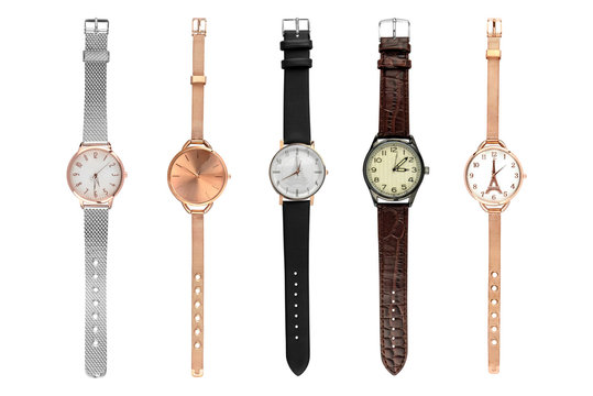 Woman stylish watches. Set of five female watches of various sizes and designs, isolated on white background, clipping paths included.