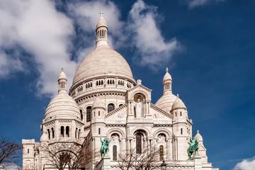 Beautiful view of the Basilica of the Sacred Heart of Paris, commonly known as Sacré-Cœur Basilica, Paris, France
