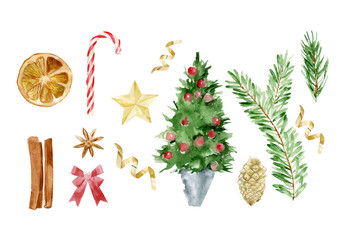 Watercolor illustration of Christmas vector objects set. Composition Happy New Year. Pine twig, branch, ribbon, star, candy, bow, lay top view. Illustration of tree decoration, xmas background