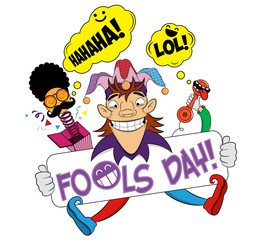 April fools day with cheerful jester. First april fools day surprise box with face comic. Illustration of a joker. April Fools Day, jester illustration, vector illustration.