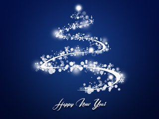 Beautiful Blue Background With Christmas tree