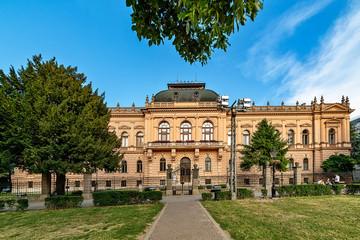 Sremski Karlovci, Serbia - May 2, 2018: Patriarch's Palace (Bishop Palace) in Sremski Karlovci, beautiful baroque structure, Serbian Orthodox building.