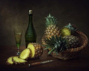 Still life with pineapples