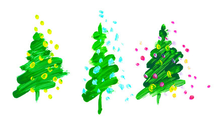 brush stroke green Christmas tree. oil paint hand drawn illustration of new year decorative fir tree