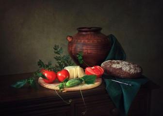 Still life with vegetables and cheese
