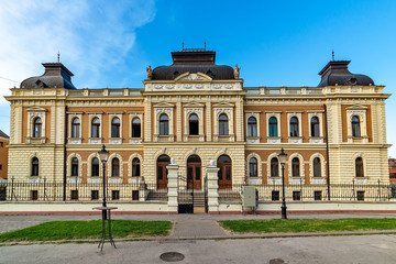 Sremski Karlovci, Serbia - May 2, 2018: Seat of church and peoples funds in Sremski Karlovci, Serbia