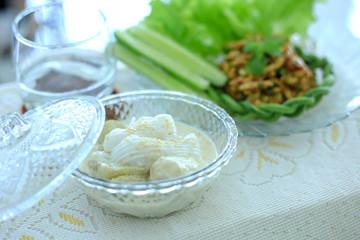 Bananas in coconut milk sweet thai dessert healthy food.