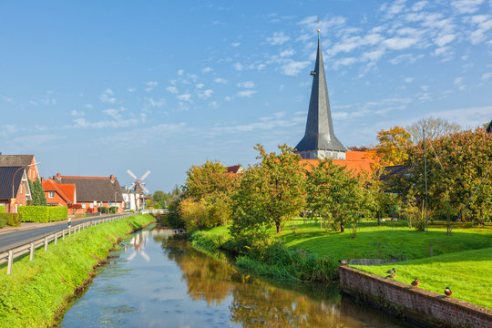 Village of Jork, Altes Land region, Lower Saxony, Germany