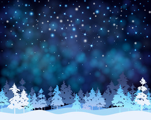 Christmas and New Year blue shiny background with winter landscape.