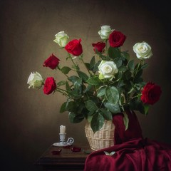 Still life with bouquet of beautiful roses