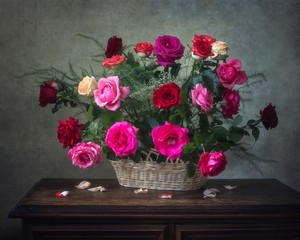 Still life with bouquet of beautiful gardening roses